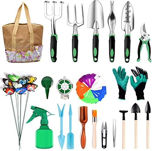Cozywind Herramientas de Jardín 22Pcs Kit de Jardinería Juegos de Herramientas con Organizador Bolsa, Pala, Tijera, Harrow, Rociador de Agua, Guantes de Jardin etc