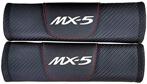 NBHUYT 2Pcs Car Seat Belt Padding Protection Covers, For Mazda Mx5, Auto Safety Shoulder Strap Cushion Cover Pads (Color : White)