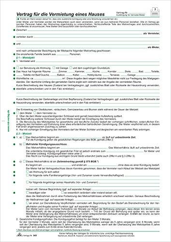 RNK Verlag Vertrag für die Vermietung eines Hauses, DIN A4,