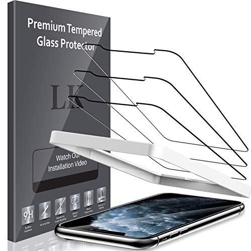 LK 3 Pack Screen Protector for iPhone 11 Pro Max and iPhone Xs Max 6.5 inch Tempered Glass, Case Friendly, Alignment Frame Easy Installation, 3D Touch