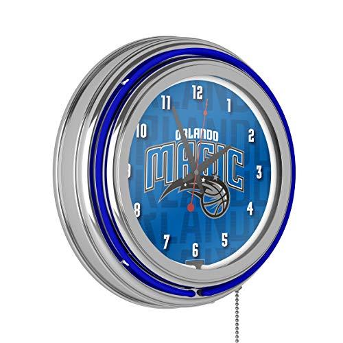 Trademark Global NBA Chrome Double Rung Neon Clock - City - Orlando Magic