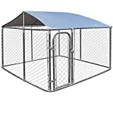 Giantex 7.5ft x 7.5ft Large Dog Kennel with Roof Cover, Pet Dog Run House Shade Cage with Roof Cover Backyard Playpen (Dog Kennel+Kennel Cover)
