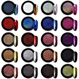 Artdone 20 Jars chrome nail powder metallic mirror effect holographic Aurora chameleon pigment 1g/Jar for nail art gel polish mermaid unicorn dipping powder