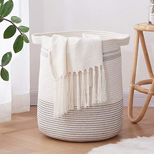 OIAHOMY Laundry Basket- Rope Basket Large Storage Basket with Handles,Modern Decorative Woven Basket for Living Room,Storage Baskets for Toys, Throws, Pillows,and Towels -18'×16'-Light Grey
