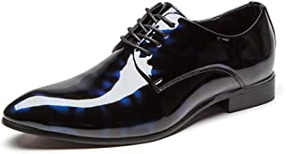 ZHANGLEI Business Oxford for Men Formal Dress Shoes Lace Up Patent PU Leather Classic Chic Anti Slip Waxy Shoelaces Office Pointed Toe Two Tones (Color : Blue, Size : 6 UK)