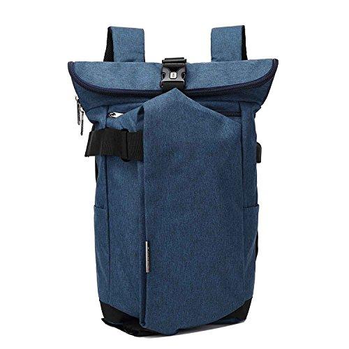 Neuleben Kurierrucksack Rucksack mit USB-Ladeanschluss Wasserabweisend Rucksäcke Daypack Fahrradrucksack Damen Herren (Blau)