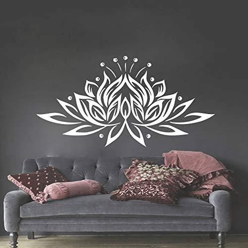 Calcomanía de pared para dormitorio, flor de loto, estudio de yoga, decoración bohemia, calcomanía de pared, otro color, 82x42 cm