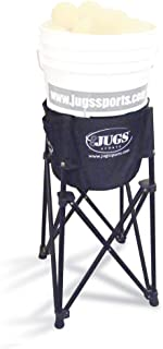 Jugs Bucket Plus — Portable Bucket Stand (Bucket not Included) elevates Your Ball Bucket to Hand Level. Use it with or Without a Bucket for Short- or Soft-toss Drills. Folds Down for Easy Transport.