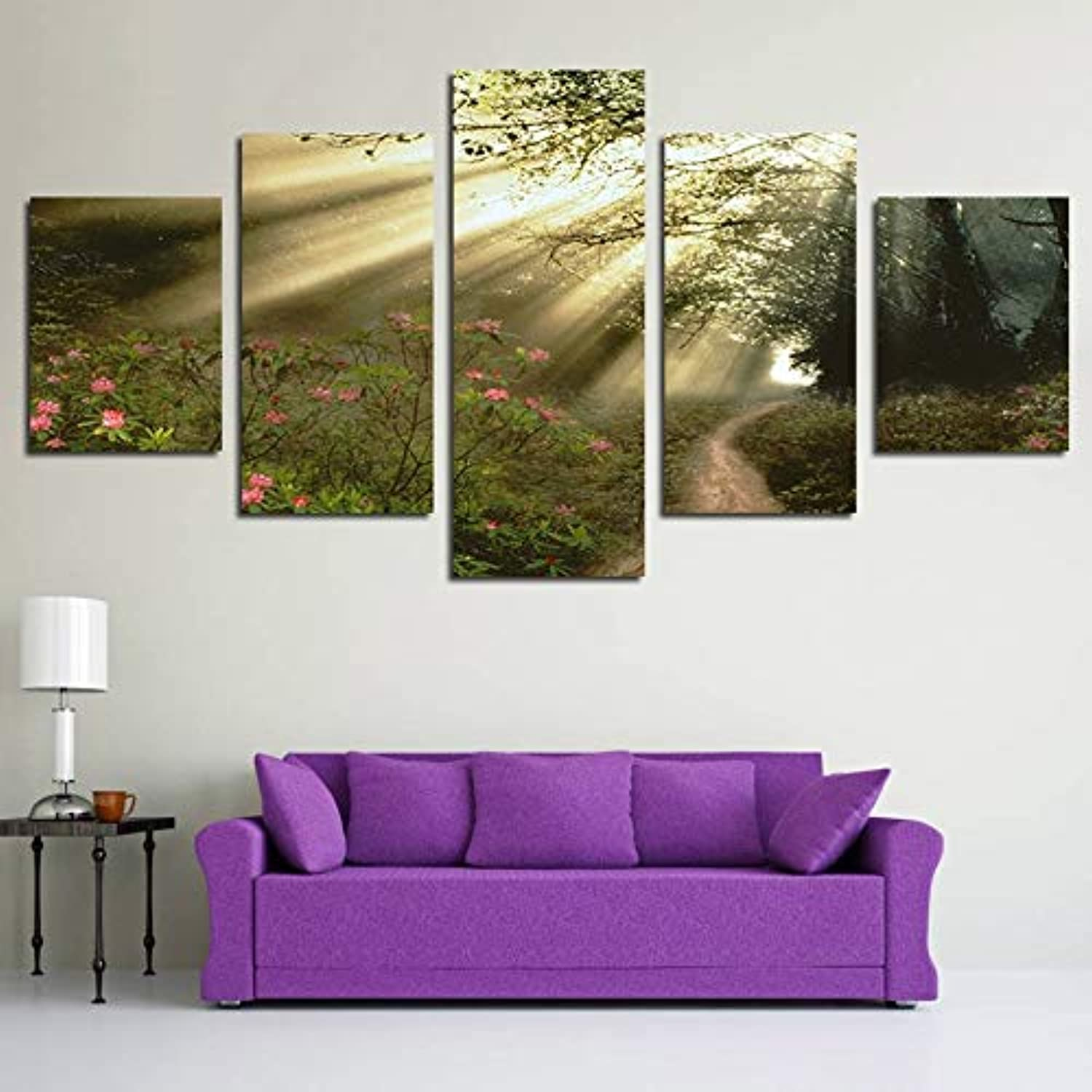 Living Room HD Printed Modern Wall Painting 5 Piece Pcs Forest Landscape Modular Picture Home Decor Poster Frame On Canvas