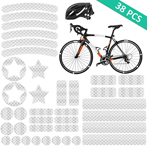 Reflektoren Aufkleber Sticker (38 Stück) HiPerformance Reflexfolie Set zur Sicherungs-Markierung von Kinderwagen, Fahrrädern, Helmen mit Stickern - selbstklebend und hochreflektierend, von AGPTEK