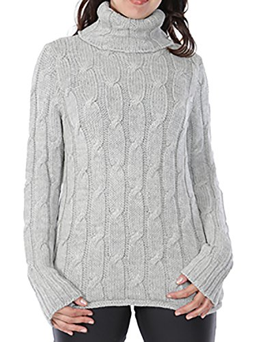 Phoebe Oversized Cable-Knit Baby Alpaca Sweater | ERLŪM Alpaca (Medium/Large) Silver