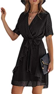 MU2M Women's Ruffle Belted Summer V-Neck Wrap Short Sleeve Midi Dress