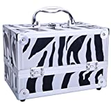 SM-2176 Aluminum Makeup Train Case Jewelry Box Cosmetic Organizer with Mirror 9'x6'x6' White Zebra for Cosmetics Makeup Brushes Toiletry Jewelry Digital Accessories