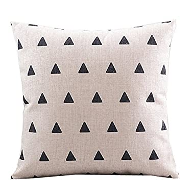CoolDream Cotton Linen Decorative Pillowcase Throw Pillow Cushion Cover Square 18  Retro Small Up Triangle