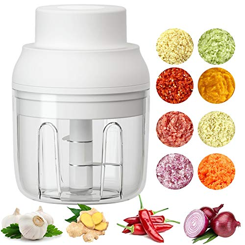 Electric Mini Food Chopper ,250ML Portable Garlic Chopper with USB Charging Function, Mini Food Slicer for Onion Vegetables Chili Ginger Meat Nuts Fruits Salad (White)