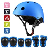 Kids Protective Gear Set, Sport Protective Gear Set Boy Girl Adjustable Child Cycling Helmet with Knee Pads Elbow Pads Wrist Guards Youth Skateboard Helmet for 3~10yrs Boys Girls(Blue)