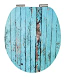 EISL Abattant WC en MDF High Gloss Blue Wood avec Frein de Chute, EDGHBW01, Turquoise