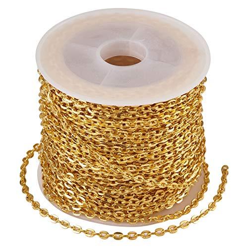 Beadthoven - Cadenas de alambre de hierro dorado de 3 x 2,2 mm, sin soldar, ovaladas, trenzadas, de metal, con bobina para manualidades, joyas, pulseras, collares