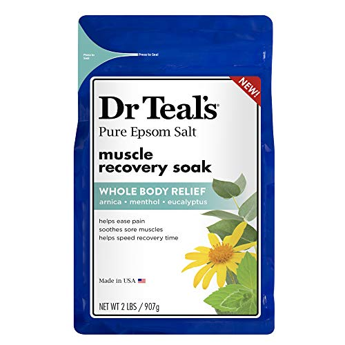 Dr. Teal's Epsom Salt - Muscle Recovery Soak - Whole Body Relief with Arnica, Menthol, Eucalyptus - 2lb bag