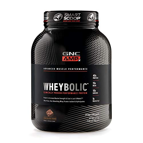 GNC AMP Wheybolic Whey Protein Powder - Chocolate Fudge, 25 Servings, Contains 40 Protein, 15g BCAA, and 10g Leucine Per Serving