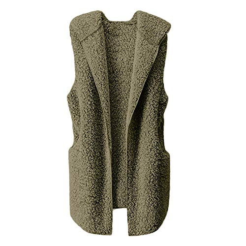 haoricu Womens Puffer Vest Winter Warm Plush Hoodie Outwear Casual Coat Faux Fur Tank Holiday Casual Gown Army Green