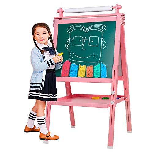 BeebeeRun 3 in 1 Wooden Kids Easel Double-Sided Drawing Board Whiteboard & Chalkboard Dry Easel with Drawing axis & Paper Roll, Numbers, Paint Cups for Writing Kids Boys Girls (Pink)