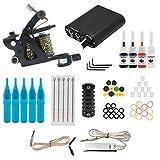 Greatangle Starter Tattoo Machine Kit Set 1 Coils Guns Colors Pigment Inks Sets Black Power Tattoo Kit de Agarre para Principiantes Enchufe AU Negro