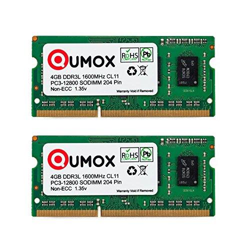 QUMOX 8Go (2x 4 Go) 204 pin DDR3L-1600 SO-DIMM Mémoire (1600Mhz, PC3L-12800S, CL11, 1.35V, Basse Tension)