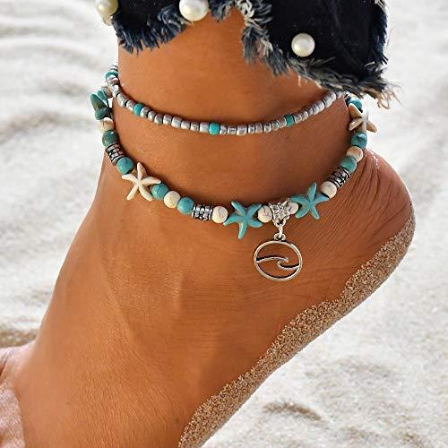 tutu Cadena de pie de doble capa para surf estrella de mar arroz con cuentas de yoga y playa onduladas