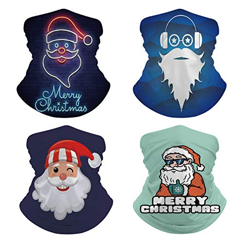 Pack of 4 Adult Christmas Santa Claus Neck Gaiter Face Mask Face Scarf