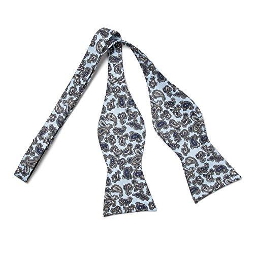 VON FLOERKE Handgenähte Fliegen zum Selberbinden 100% Seide – Paisley Weiß/Schwarz – Größe: verstellbar für Kragenweiten 37-52cm – Querbinder Schleife für Anzug und Smoking by
