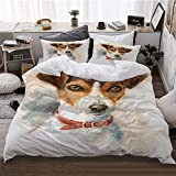 HATESAH Funda De Edredón,atercolor Perro Jack Russell Terrier Retrato,3 Pcs Ropa de Cama Funda Nórdica Sábana Bajera (220 * 240CM)