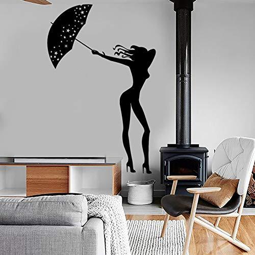 Sexy chica mujer con paraguas pegatina de pared romántica decoración del hogar dormitorio calcomanías de baile murales extraíbles Interior casa A6 42x66cm