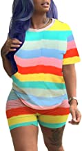 Xibulin Womens Casual Outfits Rainbow Stripes Short Sleeve Top Short Pants Tracksuits 2 Piece Sets