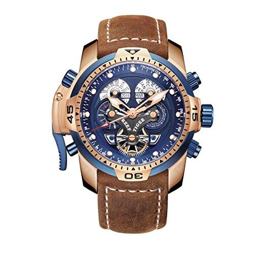 REEF TIGER Herren Uhr analog Automatik mit Leder Armband RGA3503-PLSB