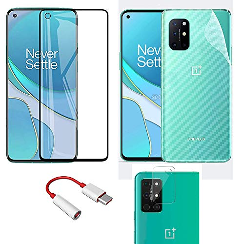 LINLO [4 in 1] for OnePlus 8T OG Gorilla Tempered Glass [with Camera Hole] with Clear Back Skin Rear Screen Guard with Type-C to 3.5mm Audio Convertor with Camera Protector Tempered Glass