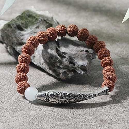 Sjzhdl Rudraksha Beads Tubo Largo Hueco pez Pulsera elástica Hombres y Mujeres Buena Suerte Yoga Amistad Brazalete Moda Encanto joyería