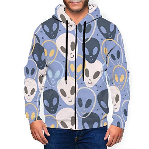 LX-LINK UFO Alien Spaceships Mens Zip Up Hoodie Casual Drawstring Hooded Sweatshirt Jacket
