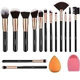 Makeup Brushes Rose Golden 14 Pcs Makeup Brush Set with Blender Sponge and Brush Cleaner Premium Synthetic Kabuki Foundation Face Powder Blush Eyeshadow Cruelty-Free Brochas De Maquillaje