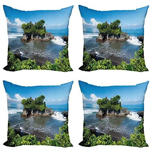 ABAKUHAUS Oceano Set de 4 Fundas para Cojín, La construcción en la Isla de Bali Asia, Estampado Digital en Ambos Lados y Cremallera, 60 cm x 60 cm, Verde Azul