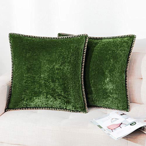 Set di 2 federe per cuscino decorativo in ciniglia, per divano, soggiorno, salvia di salvia e imbottitura non inclusa nella confezione