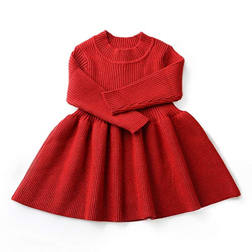 Girls Christmas Sweater Ugly Toddler Red Tutu Dress for Girls Long Sleeves Winter Outfits Formal Fancy Pageant Party Dress for Kids