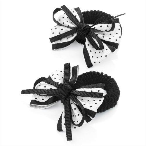 2 x 5.5cm Gingham Design Bow Hair Ponio Elastics Bobbles Back to School