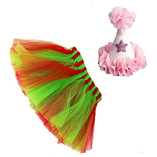Petsidea Mixed Colors Dog Tutu Skirt Birthday Outfit Kit with Cute Glitter Cone Hart Halloween Costume (Medium, Green Red)