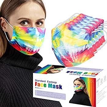 50-Pack 3-Ply Adult Disposable Face (Rainbow)