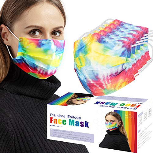 50 PCS Rainbow Disposable Face Masks, 3 Layers Breathable Safety Masks with Elastic Earloops (Rainbow Color,Adult)