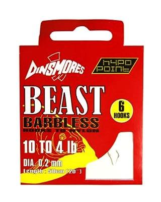 Dinsmores Beast Barbless Fishing Hooks to Nylon - White, 10