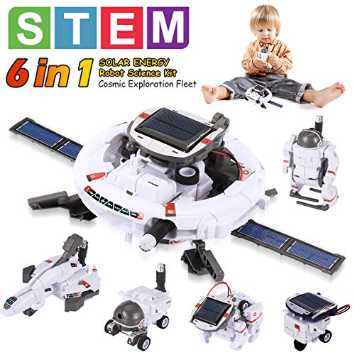 Pakoo STEM Toys Solar Robot Kit 6-in-1 Educational Science Kits Toys Solar Powered Learning Science Building Toys for Kids 8-10+ Year Old Boys & Girls Gifts