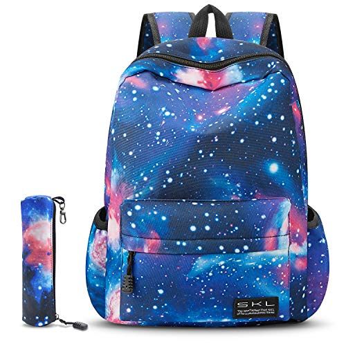 SKL Galaxy School Backpack, School Bag Student Stylish Unisex Canvas Laptop Backpack Lightweight Bag Rucksack Daypack with Pencil Bag for Teen Boys and Girls