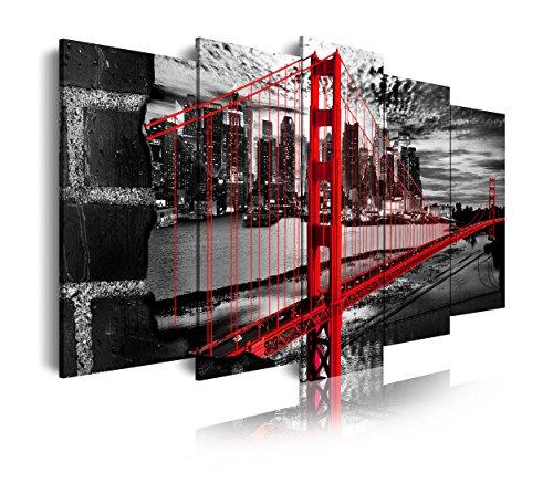 DekoArte 278 - Cuadros Modernos Impresión de Imagen Artística Digitalizada | Lienzo Decorativo Para Tu Salón o Dormitorio | Estilo Ciudades EEUU Golden Gate Blanco Negro Rojo | 5 Piezas 200x100cm XXL